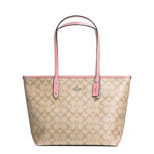 COACH SIGNATURE COATED CANVAS CITY ZIP TOTE